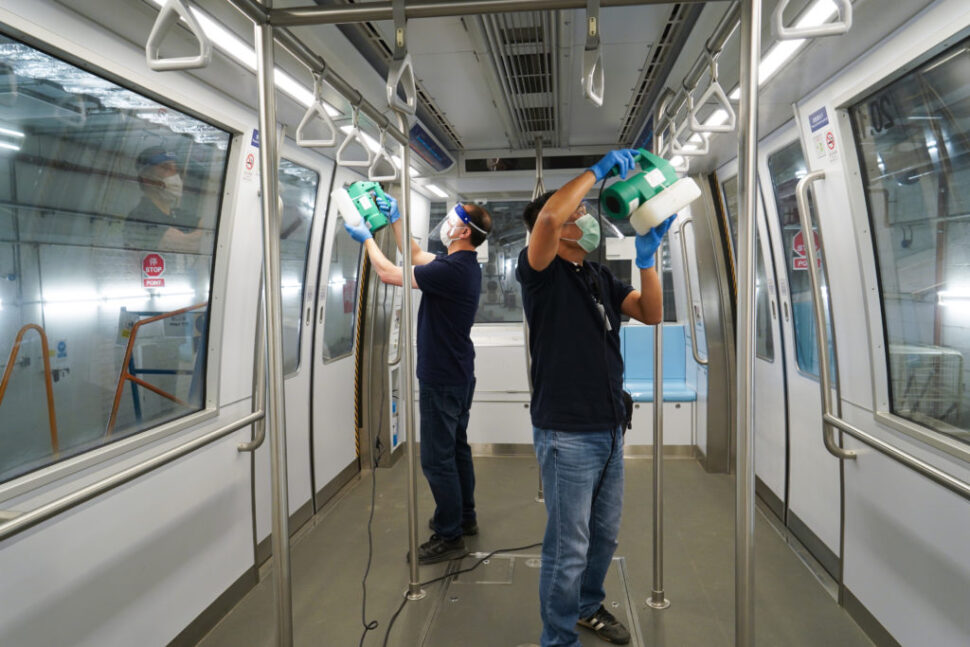 Cleaning in progress in the Automated People Mover vehicles at HKIA