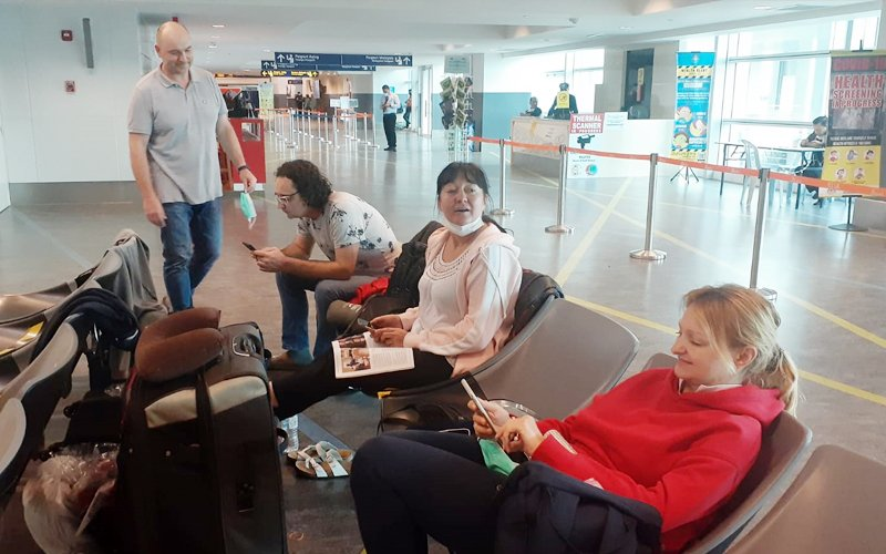 A group of stranded Polish travellers at the klia2 transit area on March 24. (Pic courtesy of Val Azure)